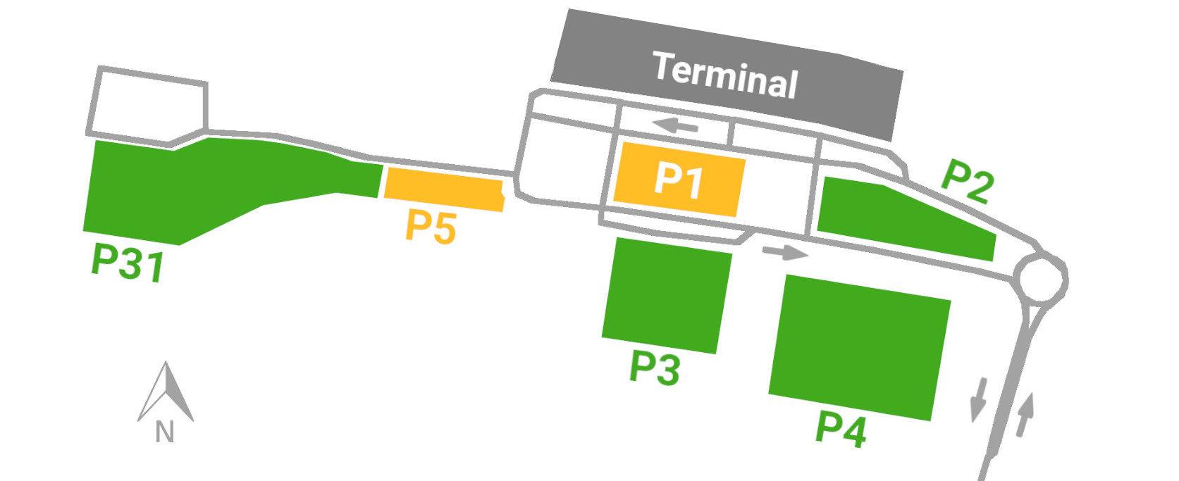 Parkplätze am Flughafen Nürnberg-Übersicht
